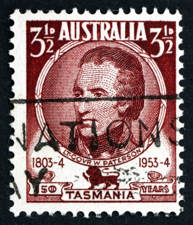 lieutenant: AUSTRALIA - CIRCA 1953: a stamp printed in the Australia shows Lieutenant Governor William Paterson, Soldier, Explorer and Botanist, circa 1953