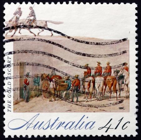 gold rush: AUSTRALIA - CIRCA 1990: a stamp printed in the Australia shows Gold Escort, The Gold Rush, circa 1990