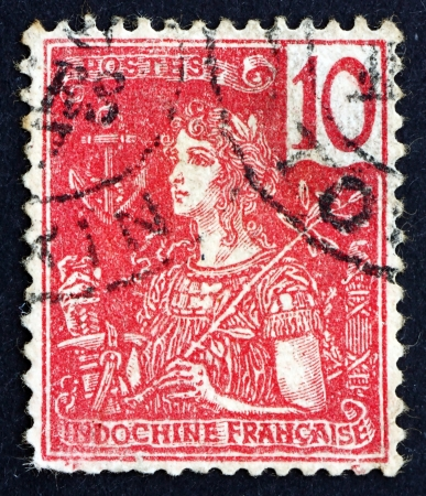 INDO-CHINA - CIRCA 1900: a stamp printed in the Indo-china shows France, Allegory, circa 1900