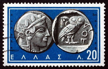 finds: GREECE - CIRCA 1959: a stamp printed in the Greece shows Athena, Goddess of war and Wisdom, and Owl, Ancient Greek Coins, circa 1959
