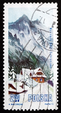 morskie: POLAND - CIRCA 1972: a stamp printed in the Poland shows Morskie Oko, Rybiego Potoku Valley, Mountain Lodge in Tatra National Park, circa 1972 Editorial