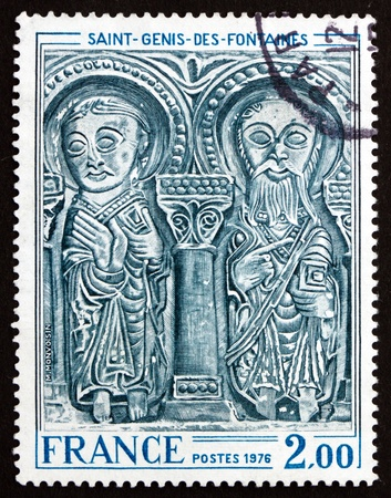 lintel: FRANCE - CIRCA 1976: a stamp printed in the France shows Lintel, St. Genis des Fontaines Church, Bas relief, circa 1976