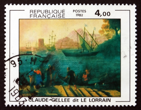FRANCE - CIRCA 1982: a stamp printed in the France shows Embarkation for Ostia, Painting by Claude Gellee, circa 1982