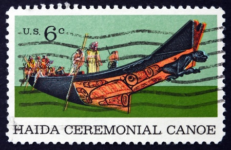 haida indian: UNITED STATES OF AMERICA - CIRCA 1970: a stamp printed in the USA shows Tlingit Chief in Haida Ceremonial Canoe, circa 1970