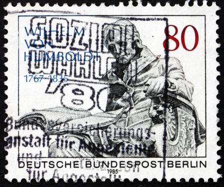 statesman: GERMANY - CIRCA 1985: a stamp printed in the Germany, Berlin shows Wilhelm von Humboldt, Statesman, Philosopher, circa 1985