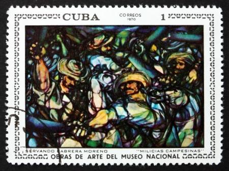 militia: CUBA - CIRCA 1970: a stamp printed in the Cuba shows Militia, Painting by Servando C. Moreno, circa 1970