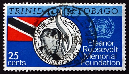 TRINIDAD AND TOBAGO - CIRCA 1965: a stamp printed in Trinidad and Tobago shows Eleanor Roosevelt, Presidential Spouse, Memorial Foundation, circa 1965 Stock Photo - 19509861