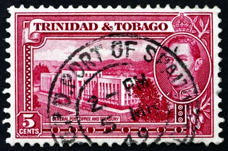 TRINIDAD AND TOBAGO - CIRCA 1941: a stamp printed in Trinidad and Tobago shows General Post Office and Treasury, circa 1941 Stock Photo - 19509872