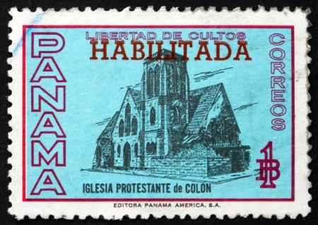 PANAMA - CIRCA 1964: a stamp printed in the Panama shows Protestant Church of Colon, Panama, circa 1964