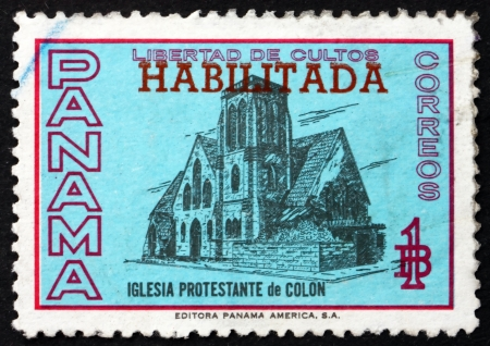 colon panama: PANAMA - CIRCA 1964: a stamp printed in the Panama shows Protestant Church of Colon, Panama, circa 1964