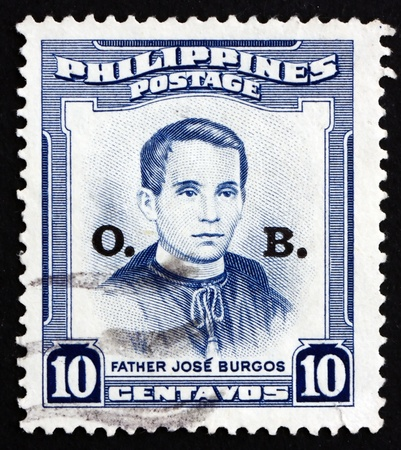 secular: PHILIPPINES - CIRCA 1955: a stamp printed in Philippines shows Father Jose Burgos, Secular Priest, circa 1955