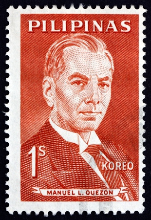 manuel: PHILIPPINES - CIRCA 1963: a stamp printed in Philippines shows Manuel L. Quezon, 2nd President of the Philippines, Portrait, circa 1963