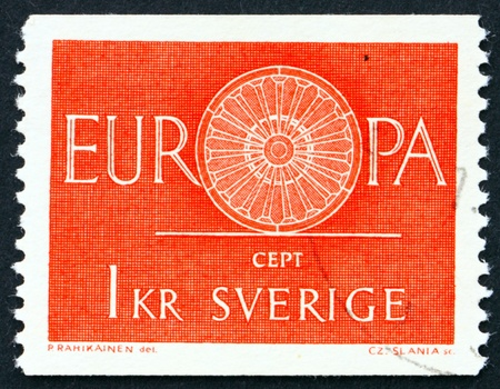 founding: SWEDEN - CIRCA 1975: a stamp printed in the Sweden shows 19-Spoke Wheel, the Spokes Symbolize the 19 Founding Members of the Conference, CEPT, circa 1975 Editorial