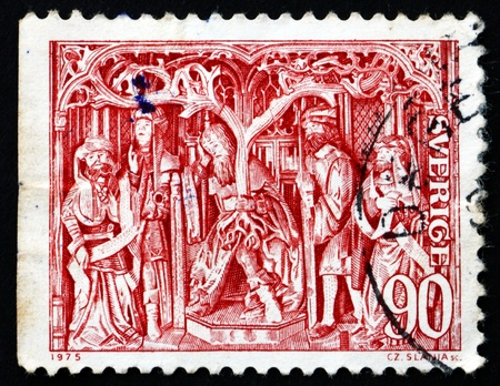 SWEDEN - CIRCA 1975: a stamp printed in the Sweden shows Jesse at Foot of Genealogical Tree, c. 1510, circa 1975