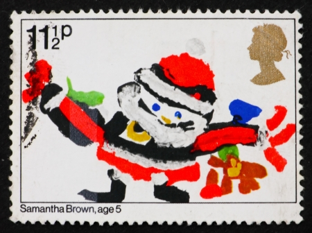 age 5: GREAT BRITAIN - CIRCA 1981: a stamp printed in the Great Britain shows Santa Claus, Drawing by Samantha Brown, Age 5, Christmas, circa 1981 Editorial