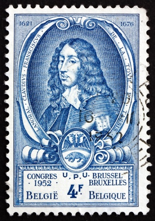 postmaster: BELGIUM - CIRCA 1952: a stamp printed in the Belgium shows Count Lamoral II Claudius Franz of Thurn and Taxis, Imperial Postmaster, circa 1952