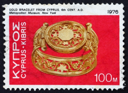 CYPRUS - CIRCA 1976: a stamp printed in the Cyprus shows Gold Bracelet, Lamboussa, 6th Century A.D., circa 1976
