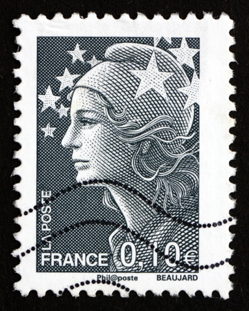 FRANCE - CIRCA 2008: a stamp printed in the France shows Marianne, the Allegory of the French Republic and Europe Stars, circa 2008