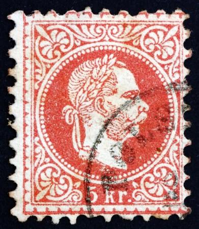 franz josef: AUSTRIA - CIRCA 1872: un sello impreso en los shows de Austria Francisco Jos�, emperador de Austria, alrededor del a�o 1872 Editorial