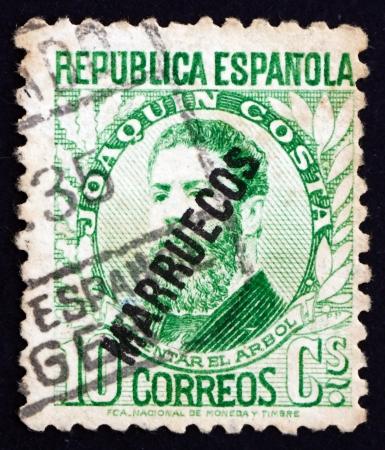 joaquin: SPAIN - CIRCA 1931: a stamp printed in the Spain shows Joaquin Costa, Politician and Historian, circa 1931 Editorial