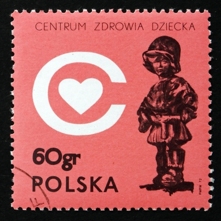 regime: POLAND - CIRCA 1972: a stamp printed in the Poland shows The Little Soldier, by E. Piwowarski, Childrens Health Center, to be built as Memorial, to Children Killed during Nazi Regime, circa 1972
