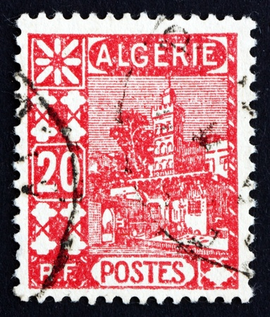 ALGERIA - CIRCA 1926: a stamp printed in Algeria shows Mosque of Sidi Abd-er-Rahman, in the Casbah of Algiers, circa 1926