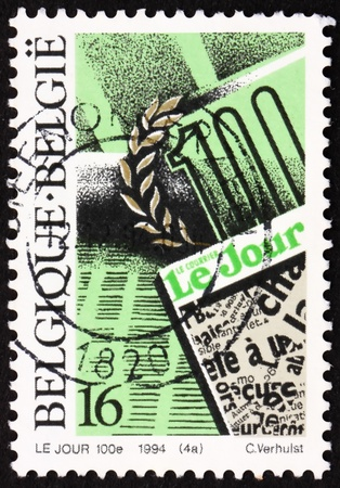 centenary: BELGIUM - CIRCA 1994: a stamp printed in the Belgium shows Daily Newspapers, Le Jour, Le Courier, Centenary, circa 1994