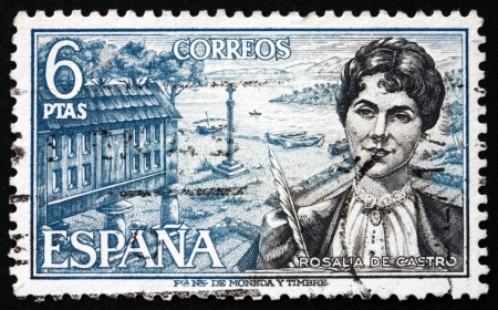 SPAIN - CIRCA 1968: a stamp printed in the Spain shows Rosalia de Castro, Galician Romanticist Writer and Poet, circa 1968 Stock Photo - 19711907