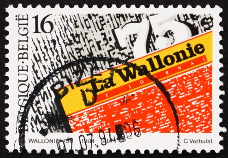 wallonie: BELGIUM - CIRCA 1994: a stamp printed in the Belgium shows Daily Newspapers, La Wallonie, 75th Anniversary, circa 1994