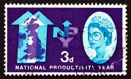 british isles: GREAT BRITAIN - CIRCA 1962: a stamp printed in the Great Britain shows Two Arrows and Map of the British Isles, National Productivity Year, circa 1962