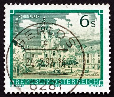 rein: AUSTRIA - CIRCA 1984: a stamp printed in the Austria shows Rein Abbey, Cistercian Monastery, Styria, circa 1984