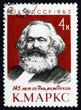 marx: RUSSIA - CIRCA 1963: a stamp printed in the Russia shows Karl Marx, Philosopher and Revolutionary Socialist, Anniversary of the Birth, circa 1963