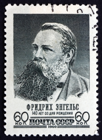 friedrich: RUSSIA - CIRCA 1960: a stamp printed in the Russia shows Friedrich Engels, socialist, collaborator with Karl Marx, circa 1960