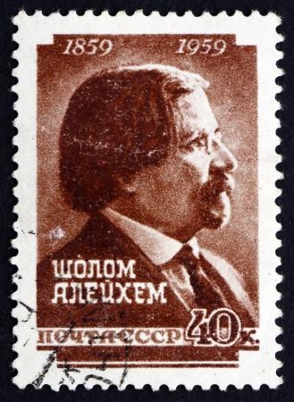 yiddish: RUSSIA - CIRCA 1959: un francobollo stampato in Russia mostra Shalom Aleichem, scrittore yiddish, Centenario della nascita, circa 1959