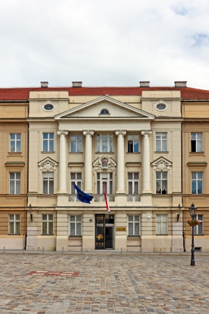 Croatian Parliament with Flags of European Union and Croatia