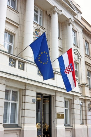 Entrance to the Croatian Parliament with Flags of European Union and Croatia