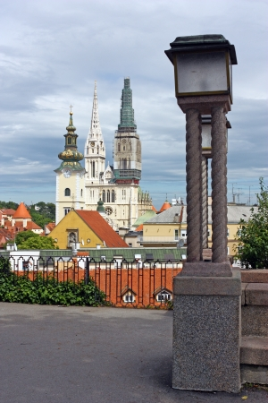 View over the Roofs to the Towers of Zagreb Cathedral and the Tower of of the Church of St. Mary, Zagreb, Croatia Stock Photo - 20360278