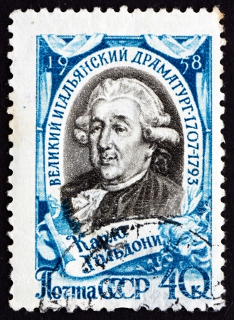 dramatist: RUSSIA - CIRCA 1958: a stamp printed in the Russia shows Carlo Goldoni, Italian Dramatist, circa 1958 Editorial