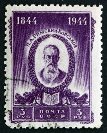 orchestration: RUSSIA - CIRCA 1944: a stamp printed in the Russia shows Nikolai Andreyevich Rimski-Korsakov, Composer, Master of Orchestration, circa 1944
