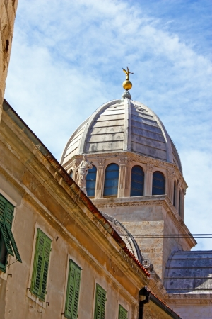 The dome of the Cathedral of St. James in Sibenik, built entirely of stone and marble, Croatia Stock Photo - 20400459