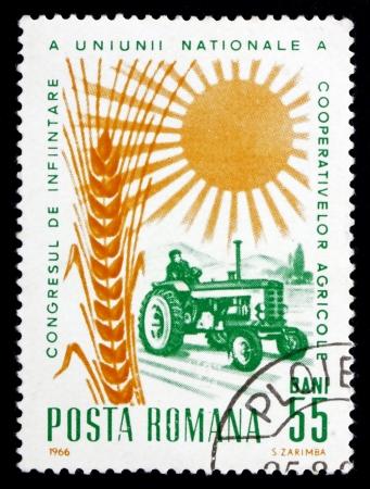 founding: ROMANIA - CIRCA 1966: a stamp printed in the Romania shows Tractor, Grain and Sun, Founding Congress of the National Union of Cooperative Farms, circa 1966