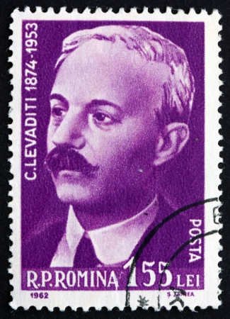 constantin: ROMANIA - CIRCA 1962: a stamp printed in the Romania shows Constantin Levaditi, Physician and Microbiologist, Scientist, Honorary Member of the Roman Academy, circa 1962