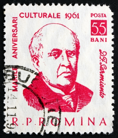 ROMANIA - CIRCA 1961: a stamp printed in the Romania shows Domingo Faustino Sarmiento, 7th President of Argentina, 1868 - 1874, circa 1961 Stock Photo - 20390270