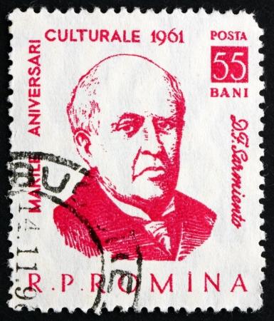 sarmiento: ROMANIA - CIRCA 1961: a stamp printed in the Romania shows Domingo Faustino Sarmiento, 7th President of Argentina, 1868 - 1874, circa 1961 Editorial