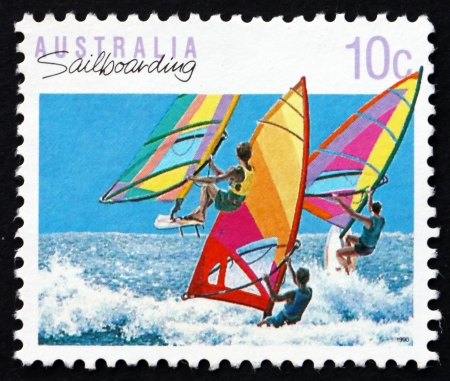 AUSTRALIA - CIRCA 1992: a stamp printed in the Australia shows Windsurfing, Sailboarding, Australian Sport, circa 1992