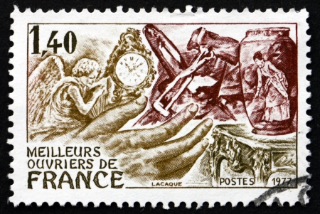 FRANCE - CIRCA 1977: a stamp printed in the France shows French Handicrafts, French Craftsmen, circa 1977 Stock Photo - 20426292