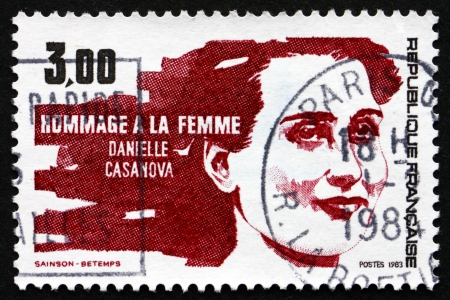 daniele: FRANCE - CIRCA 1983: a stamp printed in the France shows Daniele Casanova, Resistance Leader, circa 1983 Editorial