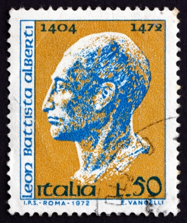 humanist: ITALY - CIRCA 1972: a stamp printed in the Italy shows Leon Battista Alberti, Architect, Painter, Organist and Writer, Renaissance Humanist Polymath, circa 1972