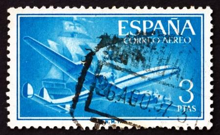 caravelle: ESPAGNE - CIRCA 1956: un timbre imprim� en Espagne montre avion et Caravel, vers 1956