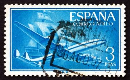 SPAIN - CIRCA 1956: a stamp printed in the Spain shows Plane and Caravel, circa 1956